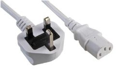 PRO ELEC PE01052  Lead Uk Plug To Iec Socket C13 White 1M